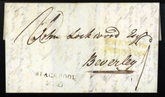 A letter sent from Blackpool to Beverley, Yorkshire, in 1819.