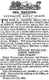 Advert for coaches to Lytham & Blackpool for sea bathing, 1835.