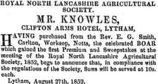 Advert from 1852