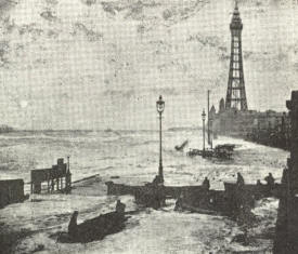 Blackpool Promenade during the storm.