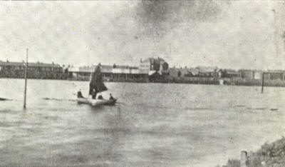 Boating on the flooded Fleetwood Rangers' Football Field.