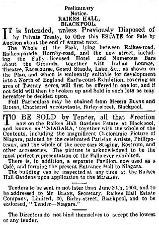 Advert for the sale of Raikes Hall Gardens, May,1900