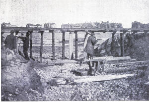 The Outer Promenade (sea wall) and estate railway at Fairhaven was undermined in the storm.