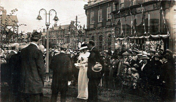 Mrs Clifton planting the Royal Elm, Lytham, 8th July. 1913.