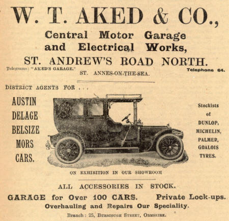 Advert from1913 for Akeds Garage, St.Annes