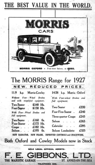 Advert for F.E. Gibbons Majestic Garage, St.Annes,1927.