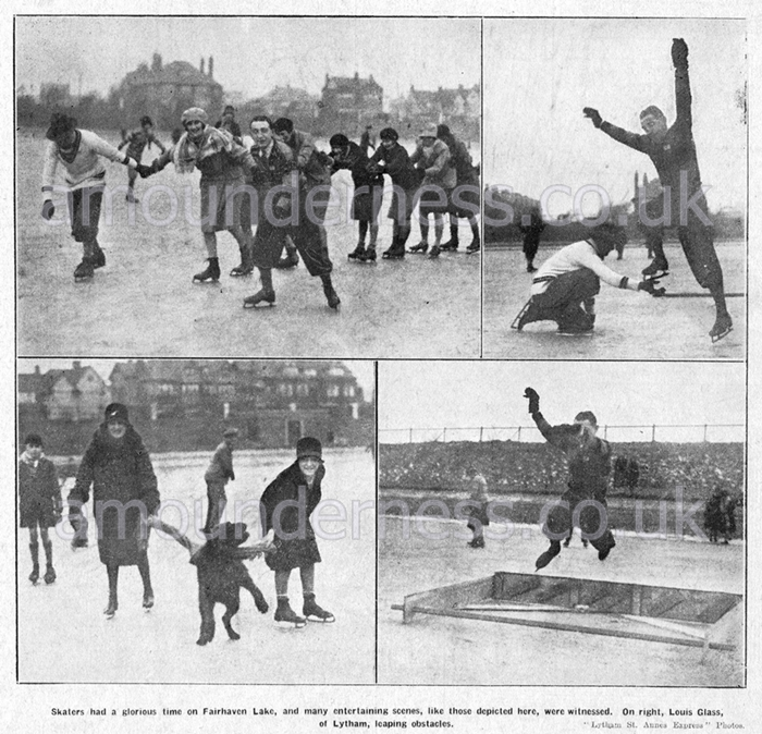 Ice skating on Fairhaven Lake during the Great Frost of 1929.