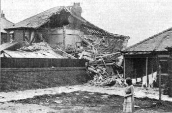 Houses on Church Road, St.Annes, after an air raid in 1940.