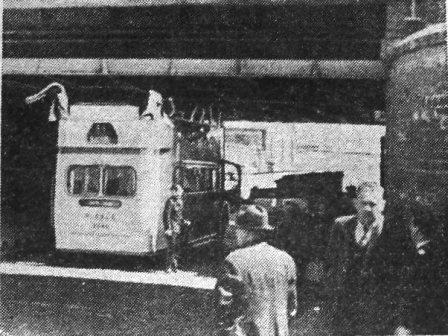 In June,1949 a double-decker Ribble bus attempted to pass under the bridge at Rigby Road, Blackpool.