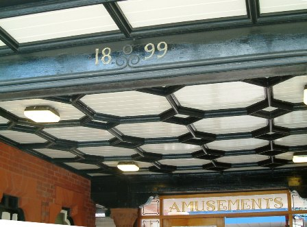 The date '1899' carved into a beam at St.Annes Pier Entrance was uncovered in March 2008 after being hidden since 1963.