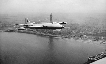 Canberra flying over Blackpool in the 1950s