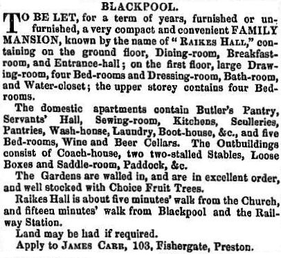 An advert for the lease of Raikes Hall, 1855.