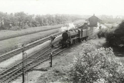 After 1903, the original station at Ansdell was demolished and it became a goods yard. It is viewed here from Woodlands Road Bridge in the 1950s.
