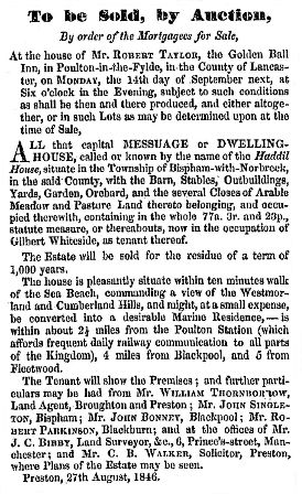 Advert for the sale of Haddil House, Bispham with Norbreck, September, 1846.