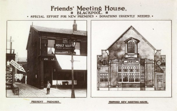 A picture of the Friends' Meeting House, Blackpool c1930, and the proposed new building on Raikes Parade.