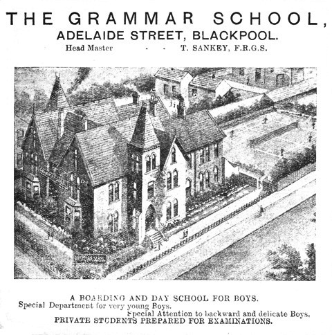 Advert for Blackpool Grammar School, Adelaide Street 1909.