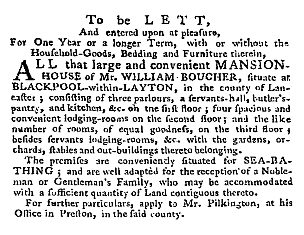 An advert for the lease of Raikes Hall for sea bathing, 1787.