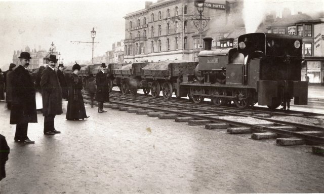 Photograph of a temporary light railway on Blackpool Promenade,1911.