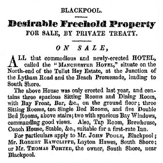 Advert for the sale of the newly-built Manchester Hotel, Blackpool, September, 1846.