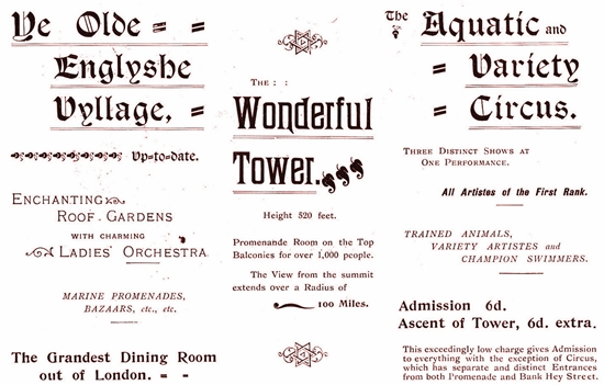Advert for Blackpool Tower c1899.