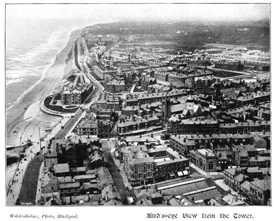 Birds Eye View from Blackpool Tower c1899.