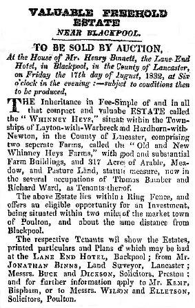 Advert for the sale of Land, Whinney Heys Blackpool, 1832.