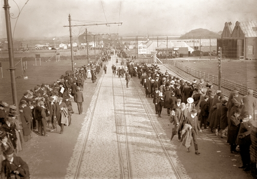 Blackpool Aviation Week in 1909 or 1910. Squires Gate Lane viewed from the top of a tram on the railway bridge.