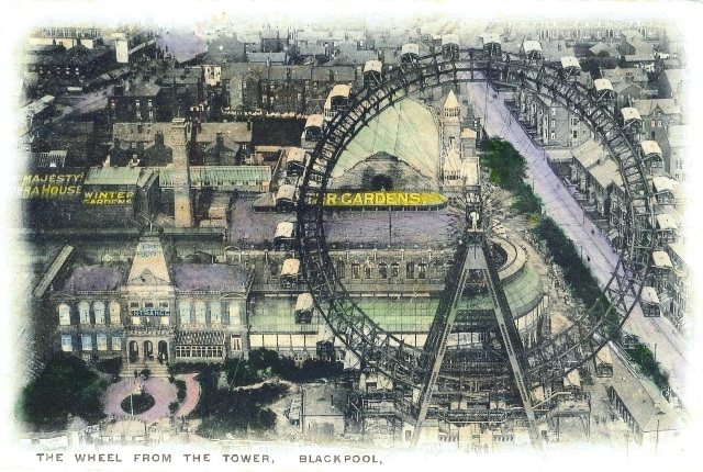 The Big Wheel Blackpool viewed from the tower c1902.