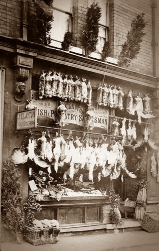 Photograph of a shopfront; J Clayton, Poultry Dealer Blackpool, circa1905.