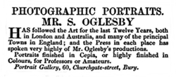 Advert for Samuel Oglesby, photographer, Bury St.Edmunds, October 1856.