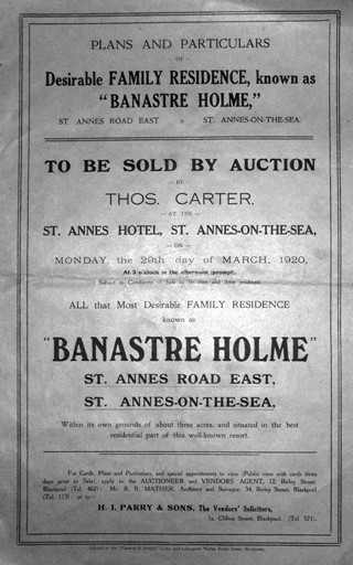 Sale brochure for Banastre Holme, 1920, purchased and converted into St.Annes War Memorial Hospital.