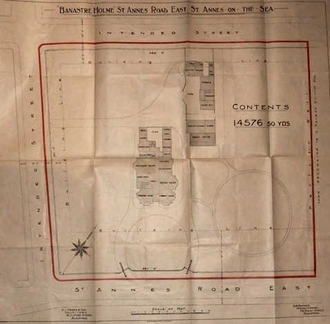 Plan of Banastre Holme, 1920, purchased and converted into St.Annes War Memorial Hospital.