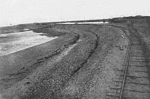 The Fairhaven Estate Railway c1892, running along both banks of shingle which formed the Double Stanner. This is now the Lytham end of Fairhaven Lake.