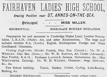 """Fairhaven Ladies High School"" was founded about 1897 and soon after became ""Fairhaven High School for Girls""."