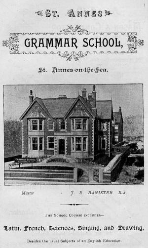 Advert for Grammar School for Boys, St.Annes