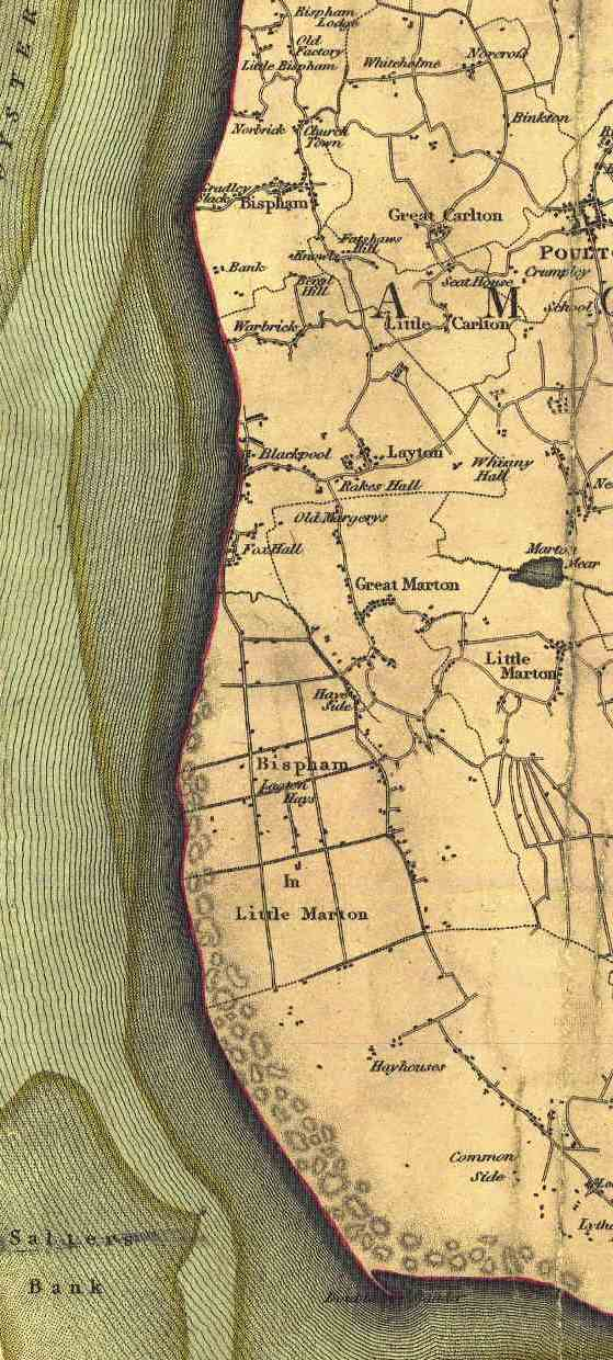 Map of Blackpool in 1818.