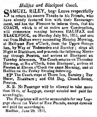 Advert for the Halifax to Blackpool Coach July 1811.
