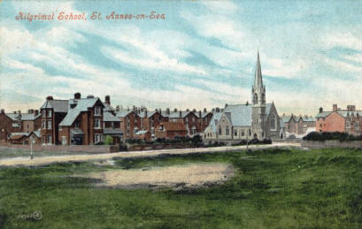 Kilgrimol School, Clifton Drive, St.Annes, viewed from a sand dune in the Bromley Road area c1905
