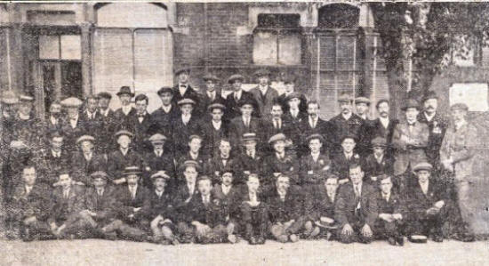 The first Lytham volunteers, outside Lytham Council Offices, 1914.