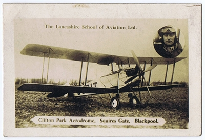 Advert for Lancashire School of Aviation, Clifton Aerodrome, Squires Gate, Blackpool, in the 1930s.