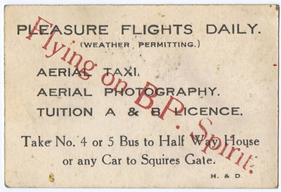 Advert for Lancashire School of Aviation, Clifton Aerodrome, Squires Gate, Blackpool, in the 1930s