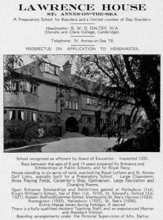1930s advert for Lawrence House School, Links Gate