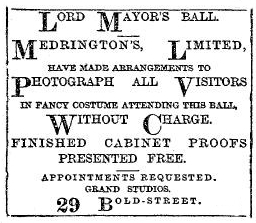 Medrington's advert for the Lord Mayor's Ball, 1894.