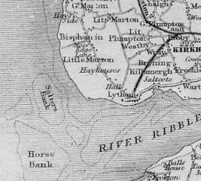 Map of South Fylde showing the railways in 1850. At this time the coastal route had not been constructed.
