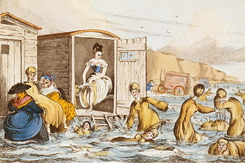 Mermaids at Brighton by William Heath (1795 - 1840), c. 1829. Depicts women sea-bathing with bathing machines at Brighton.