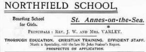 Advert for Northfield School c1905