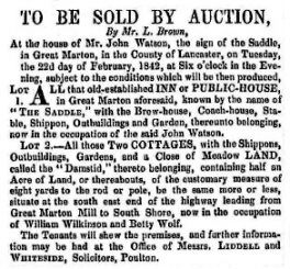Advert for the sale of the Saddle Inn, 1842.