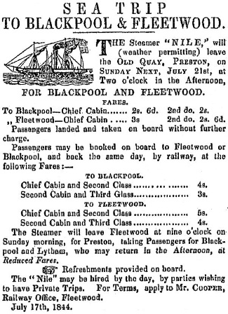 Preston to Blackpool and Fleetwood Steamboat Advert 1844.