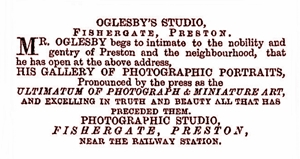 Samuel Oglesby, Portrait Photographer, Fishergate, Preston, near the railway station, in 1861.