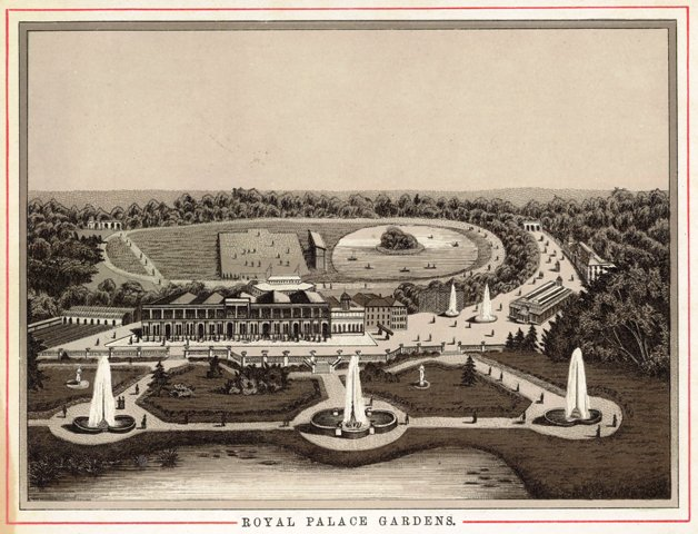 An engraving of the Royal Palace Gardens (Raikes Hall Gardens), c1894.